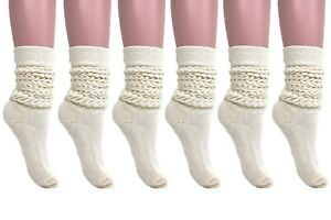 Extra Heavy Slouch Cotton Socks for Women 6 PAIRS Size 9 to 11