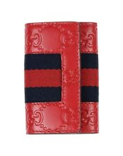 GUCCI GG Guccissima firma WEB Portachiavi Custodia Leather Wallet Purse NEW RED