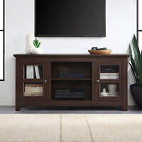 """Kenton Rustic Wood TV Stand Media Console For TV's Up To 55"""", Espresso"""