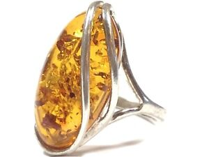 Beautiful Ladies Sterling Silver Large Amber Ring - Size 9