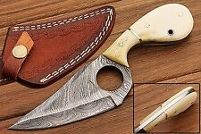Handmade Camel Bone Damascus Steel Skinning Fixed Blade Hunting Knife & Sheath