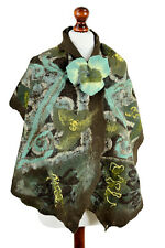Nuno felt wrap in jade & brown, wide felted shawl with flower, one of a kind