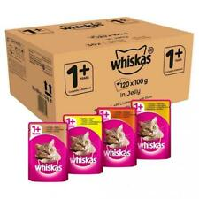 x 120 Multi Pack Whiskas 1+ Cat Pouches Mixed Selection in Jelly 100g Mega Value
