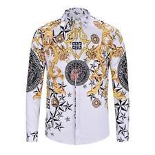 cdf99b40f3cf White   Yellow Luxury European Retro Style Baroque Print Medusa Shirt Men  Size L