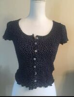brandy melville crop navy blue floral button up zelly ruffle top NWT XS/S