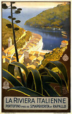 LA RIVIERA ITALIENNE Italian Travel Vintage Giclee Canvas Print 20x29