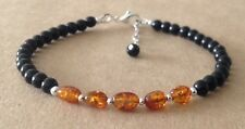 Black Onyx+Cognac BALTIC AMBER, Sterling Silver, Beaded Friendship Bracelet