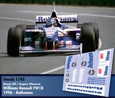 Decals 1/43 - F1 - Hill / Villeneuve - Williams Renault FW18 - Rothmans