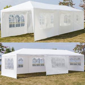 3x9m Heavy Duty Canopy Tent Garden Waterproof Wedding Gazebo Marquee w/7 Sides
