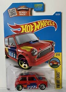 "Hot Wheels ERROR VARIATION MORRIS MINI COOPER ART CARS ""TAMPO DROP LOW"" RED"