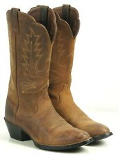 Ariat Golden Tan Sueded Leather Western Cowboy Boots Scallop Top Women's 6.5 B