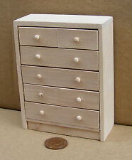 1:12th Scale Tall Chest Of Drawers Dolls House Miniature Bedroom Accessory 072