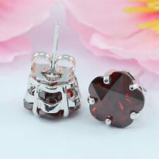 Silver Plated Ruby Stone Costume Earrings