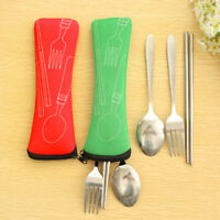 BG_ 3 Pcs Fork Spoon Chopsticks Stainless Steel Cutlery Portable Camping Bag Swe