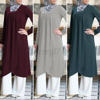 ZANZEA Womens Long Sleeve Casual Loose Solid Abaya Muslim Dress Tunic Top Blouse
