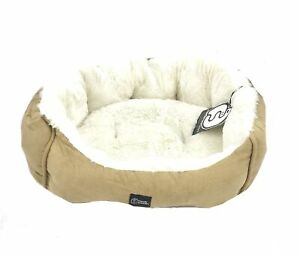 Friendly Monsters Small Round Pet Bed, Plush Fill Premium Tan Micro Suede #0497