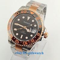 40mm PARNIS black dial Sapphire glass ceramic bezel GMT automatic watch 2705
