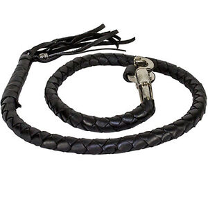 """Get Back Whip Genuine Leather Motorcycle 42"""" Long Braided"""