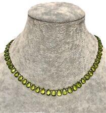 14K Yellow Gold Apple Green Peridot Briolette Artizan Necklace