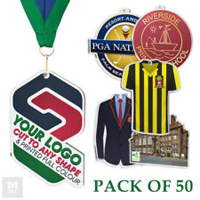 PACK OF 50x LOGO CUSTOM MEDALS WITH RIBBONS ANY SHAPE *EXCLUSIVE* SIZE 50mm