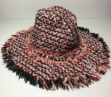 =MODERN= LANVIN Red Coral Pink Black Tweed Fringe Textured Wool Hat Size 6 7/8