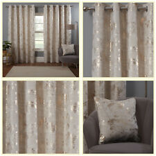 Cream Natural Eyelet Curtains Blossom Tree Gold Foil Velvet Ring Curtains Pair