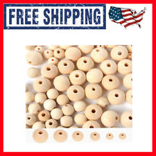 700pcs Natural Wooden Beads Crafts Loose Solid Wooden Spacer Assorted Round Wood