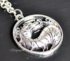 Mortal Kombat Dragon Pendant with Long Chain Necklace Unisex Silver Color