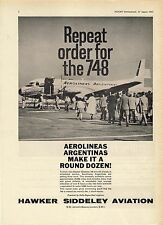 Old Magazine Advert ~ Hawker Siddeley Aviation 748 - Aerolineas Argentinas: 1963