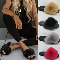 LADIES WOMENS FAUX FLUFFY FUR SLIDERS WARM FASHION SLIP ON MULER SLIPPERS SHOES