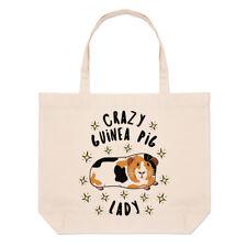 Crazy Guinea Pig Lady Stars Large Beach Tote Bag - Funny Animal Shoulder Shopper