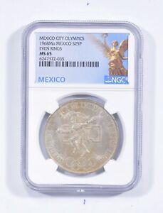 1968 MEXICO 25 Pesos Silver - Even Rings NGC MS65 *611