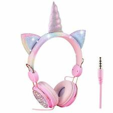 Kids Headphones Childrens Unicorn Over Ear Wired Headphone 3.5MM Audio Cable