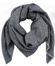 Schal Webschal Jacquard modisch blau grau 100% Wolle (Merino) R-627
