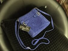 Blue Printed Leather Condura Cross Body Handbag