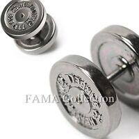 FAMA 316L Stainless Steel 12mm Dumbbell Faux Fake Plug SINGLE Stud Earring