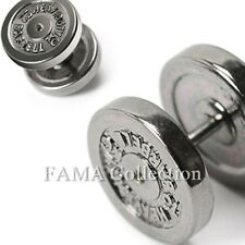 FAMA 316L Stainless Steel 12mm Dumbbell Faux Fake Plug SINGLE Stud Earring