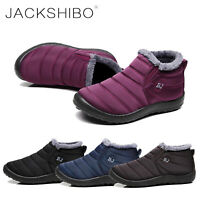 Womens Winter Snow Boots Ankle Fur Lined Shoes Cozy Outdoor Waterproof slip on