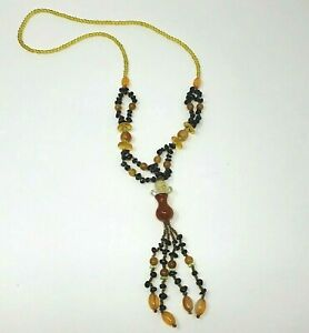 Glass Beaded Necklace Tassel Brown Amber No Clasp Boho Funky