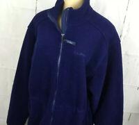 Vintage LL Bean Fleece Jacket Full Zip Retro 90s Drawstring Waist Blue Women M