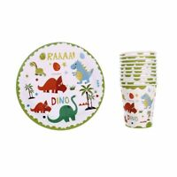 10pcs Dinosaur theme paper plates disposable paper cups birthday party decor NT
