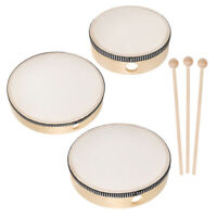 6pcs Hand Drum Set Kids Wood Frame Drums Percussion Instruments with Drum Sticks