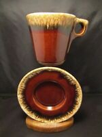 Vintage Hull Pottery Oven Proof USA Brown Drip Ware Teacup and Saucer Set