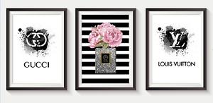 Set of 3 Fashion Art Prints Designer Perfume Bottle logo pink A5 A4 A3 S22