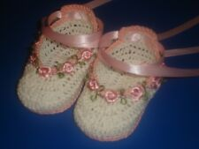 CROCHET HANDMADE  BABY INFANT GIRL DOLL BOOTIES WHITE & PINK  ROSE GARLAND