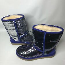 UGG Classic Short Navy Blue Sparkles Sequin Sheepskin Boots Size US 9 Womens