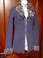 FREE PEOPLE crazy aunt cardigan rainbow yarn purple knit sweater jacket S M 3E