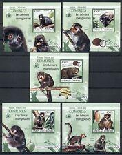 Comoros *2009 *compl.set 5 S/Sheets Mnh* Mammals - Lemur - Mi.No 2460-2464Kb