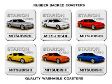MITSUBISHI STARION TURBO      SET OF  6   RUBBER DRINK  COASTERS