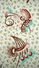 Vintage barkcloth abstract mid century atomic Eames era cotton fabric panel!!